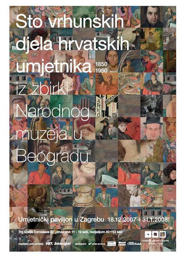Plakat: 100 vrhunskih djela hrvatske umjetnosti iz fundusa Narodnog muzeja u Beogradu