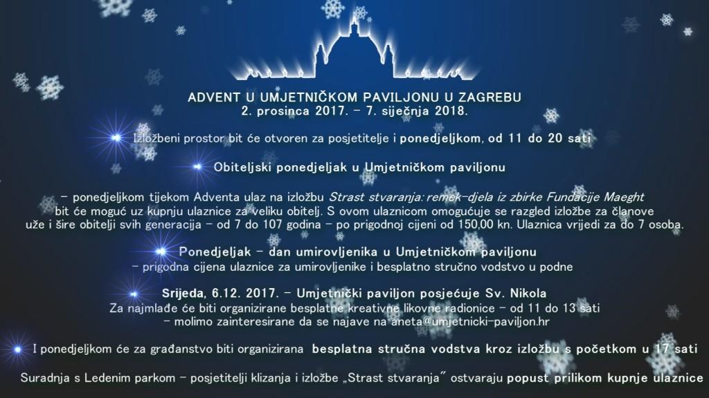 Medijska obavijest Advent u Umjetničkom paviljonu u Zagrebu i Zimski praznici u Umjetničkom paviljonu u Zagrebu