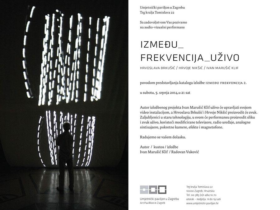 """Promocija kataloga izložbe Ivana Marušića Klifa i audio-vizualni performans """"Između_frekvencija_uživo"""""""