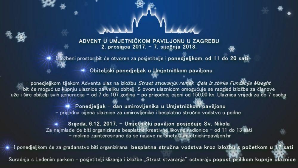 Advent u Umjetničkom paviljonu  od 2.12.2017. do 7.1.2018.