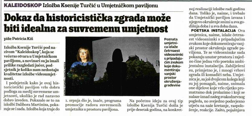 "Ksenija Turčić ""Kaleidoskop"" – objave iz medija"