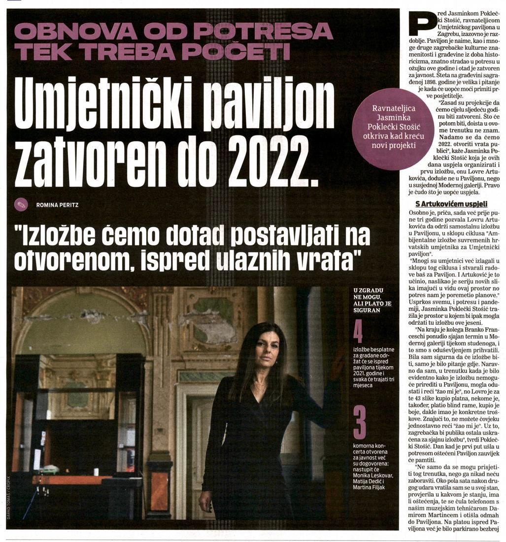 Umjetnički paviljon zatvoren do 2022.